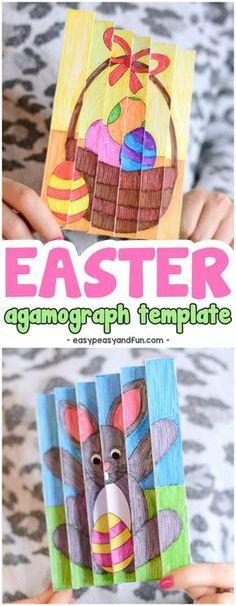 Easter Agamograph Template Paper Craft for Kids #Eastercrafts #craftsforkids #activitiesforkids