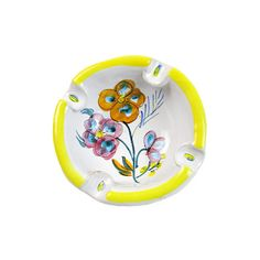 Vintage Mid Century Ashtray Made in Italy Hand Painted Signed Pottery... (€14) ❤ liked on Polyvore featuring home, home decor and pottery ashtray