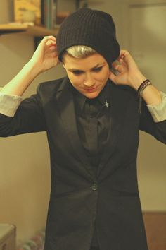 Love the suit with rolled sleeves and a beanie