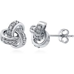 BERRICLE Sterling Silver CZ Love Knot Wedding Bridal Fashion Stud... ($37) ❤ liked on Polyvore featuring jewelry, earrings, clear, sterling silver, stud earrings, women's accessories, cubic zirconia stud earrings, cz stud earrings, cz earrings e cubic zirconia earrings