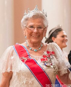 King Harald's Sister, Princess Astrid Wore Her Grandest Suite Of Jewelry, Queen Maud's Turquoise Tiara. She Also Wore Family Orders From Her Grand Father King Haakon VII, Her Father King Olav V, And King Harald V, Her Brother.