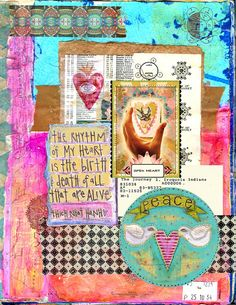 INSTANT DOWNLOAD - Art Journal Digital Collage Sheet - Peaceful Heart
