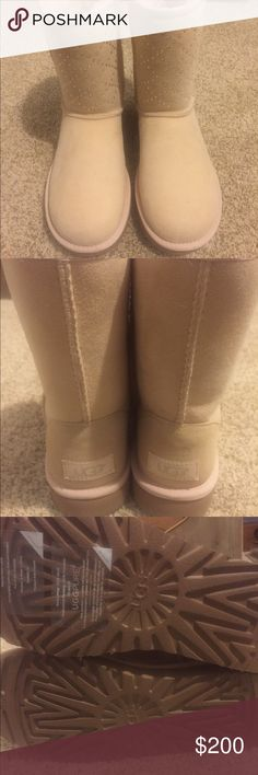 NEW Ugg classic short crystal diamond boots NEW WITH BOX Ugg classic short crystal diamond boots color: freshwater pearl UGG Shoes Winter & Rain Boots
