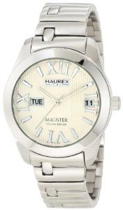 Haurex Italy Women's XA356DW1 Magister L Silver Dial Watch Haurex. $284.00. Textured dial. Screw-down security crown. Day window and date window. Polished stainless steel case and bracelet. Water-resistant to 330 feet (100 M). Quartz movement. Save 60% Off!