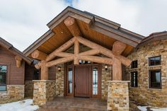 View our gallery of fine homes designed and built by Kogan Builders. Rustic Elegance, Rustic Style, Post And Beam, Mountain Homes, Front Entrances, Cabin Design, Home Photo, Log Homes, Lodges