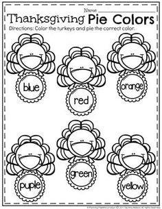 Turkey Worksheets for Preschool - Thanksgiving Pie Colors Thanksgiving Worksheets, Thanksgiving Activities For Kids, Thanksgiving Prayer, Fall Preschool, Preschool Learning, Preschool Activities, Kindergarten Age, Kindergarten Thanksgiving, Thanksgiving Crafts
