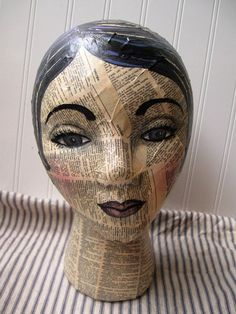 Mannequin Head mixed media Collage and handpainted French to English dictionary text Altered art Folk art