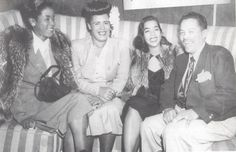 Billie Holiday with Sarah Vaughan and Billy Eckstine and his wife at Club Ebony, which was ran by Billie's then lover John Levy (not the bassist) in 1948.
