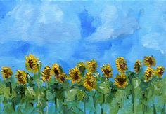 Sunflowers and Blue Sky and clouds Tiny oil by NancyvandenBoom, €50.00