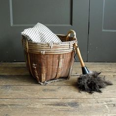 Vintage Handwoven Basket by solsticehome on Etsy, $38.00
