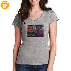 Batman Vs Superman Portraits 2016 Small Damen V-Neck T-Shirt (*Partner-Link)