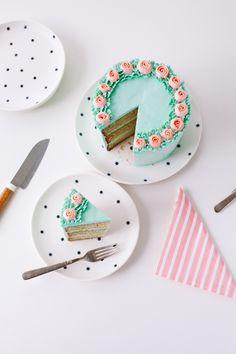slice of buttercream rose cake