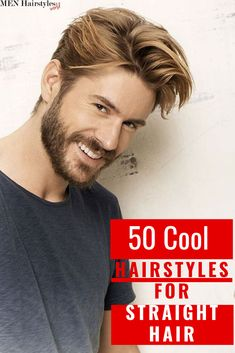 Oct 2019 - Read our guide to explore the latest and greatest hairstyles for men with straight hair, regardless if you want to rock short, medium-length or long locks! Mens Hairstyles Widows Peak, Mens Hairstyles Side Part, Mens Hairstyles Round Face, Combover Hairstyles, Side Part Haircut, Flat Top Haircut, Cool Hairstyles For Men, Curly Hair Men, Curly Hair Styles