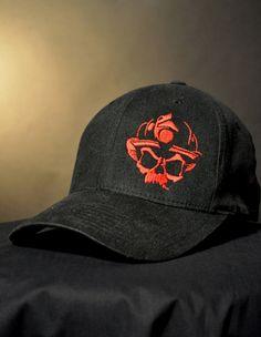 Skull Logo Flexfit Hat - Black/Red- Black Helmet Firefighter Apparel