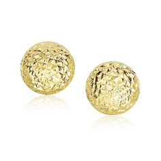 Finished with enchanting diamond cut texture, these dome stye round earrings are positively elegant. Designed in 14K yellow tone gold and secured with push backs.