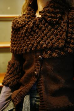 Knitty: Surface - Winter 2008 - cardigan pattern with optional wrap, lots of texture!