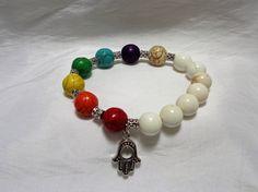 Chakra and White Howlite Stone Bead Stretch Bracelet with Hamsa Charm by NfntyArt on Etsy