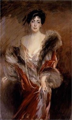 'Portrait of Madame Josephina A. de Errazuriz' - n.d. - by Giovanni Boldini (Italian, 1842-1931) -