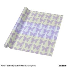 Purple Butterfly Silhouettes Wrapping Paper