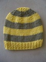 FREE knitting pattern - childs 8ply striped beanie, ages 1 to 7. More