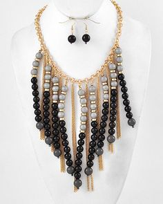 Gold Tone / Black & Dark Grey Acrylic / Grey Wood / Lead Compliant / Charm Necklace & Fish Hook Earring Set