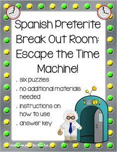 Preterite and Imperfect Break Out Escape Room Spanish ...