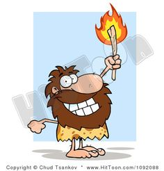 Proud Caveman Holding Up A Fiery Torch