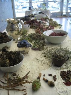 Images from Coal Harbour Community Artist in Residence: Working with end of season materials from city garden beds. table mosaic palette, table mosaic from community tea party, flotsam installation…