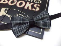 Grey plaid bow tie, with black layer w EveryJobCounts na DaWanda.com