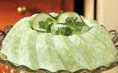 Cool Cucumber Salad Recipe -- our parents had friends by the name of Wolf. They went by He and She Wolf. She made this salad often. Jello Recipes, Salad Recipes, Recipies, Flan, Lime Jello Salads, Kos, Cottage Cheese Salad, Cucumber Salad, Vintage Recipes