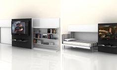 O home theater, da Resource Furniture, pode dar espaço a uma cama quando necessário.