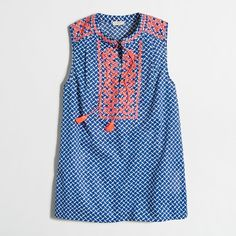 J.Crew Factory printed embroidered tank top ($50) ❤ liked on Polyvore featuring tops, blue top, embroidery top, cotton tank top, blue tank top and j crew top
