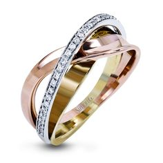 This dynamic overlapping band is made from three different tones of 18k gold: rose, white and yellow gold. They are accented by a line of .15 ctw of white pave set diamonds.