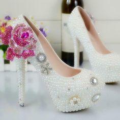 804326f43bf74 Womens Rhinestones Rose Flower Wedding Pearls Shoes Slip On Party Heels  Haihk #fashion #clothing