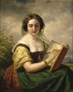 """loumargi: """"The Sketcher, A Portrait of Mlle Rosina, a Jewess, Oil Painting by American Artist Daniel Huntington - 1858 """""""
