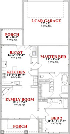 Find your dream bungalow style house plan such as Plan which is a 1367 sq ft, 2 bed, 2 bath home with 2 garage stalls from Monster House Plans. House Plan With Loft, Small House Floor Plans, Cottage Floor Plans, Cottage Plan, Cottage House, The Plan, How To Plan, Granny Pods, 2 Bedroom House Plans