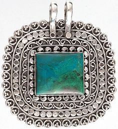 Azure malachite and sterling silver finished pendant