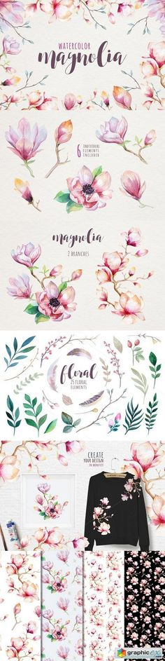 Watercolor magnolia stock images