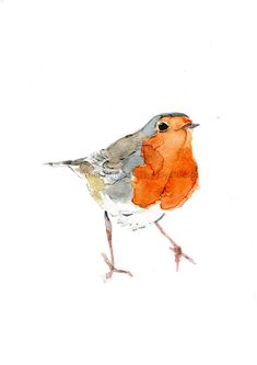 Cute Robin art print of watercolor painting Wild by TheJoyofColor