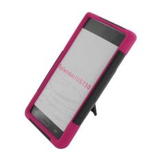 Insten Hard Dual Layer Plastic Silicone Case with stand for LG Splendor US730 / Venice LG730 Black/Hot Pink