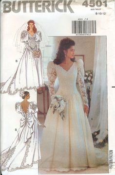 Butterick 4501 Bridal Wedding Gown Dress sewing pattern UNCUT FF vintage NEW OOP…