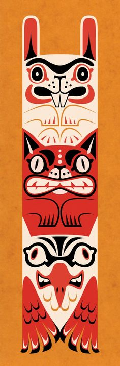 Totem screen print by Paper Wasp. I like that the bunni is at the top