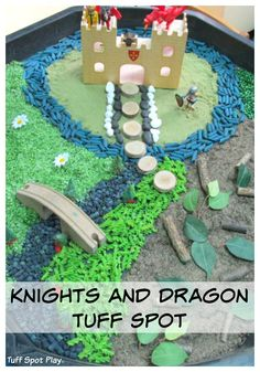 Knights and Dragon Small World Tuff Spot. Create a St George's Day small world. Tuff Spot, Eyfs Activities, Activities For Kids, Activity Ideas, Sensory Bins, Sensory Play, My Fathers Dragon, St George S Day, Dragon Tales