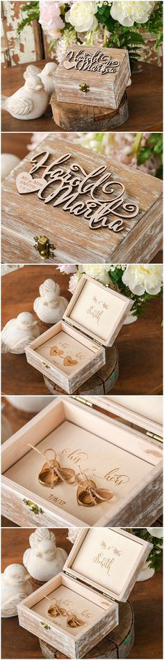 Wooden Wedding Ring Bearer Box with engraved your names #weddingideas #weddingplanning #ring #weddingring #ringbearerbox #weddingbox #rustic #wood #wooden