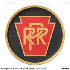 "Pennsylvania Railroad Logo,Black & Gold Gift Plate; $26.95 - #stanrail -  Melamine Plate:  Perfect for celebrating a special occasion or creating a one-of-a-kind dining set, our non-toxic and dishwasher-safe plates show off your photos, designs, and text in vibrant full-color printing. Adorn your home with a custom plate today!   Size: 10"" diameter   @stanrails_store"