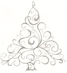 Sketch of a Christmas tree.  I might use it for cards this year
