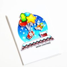 Stamps: Balloon Bunch Christmas, Tiny Type, Prancing Plushies / Stencils: Sprinkled Stars Christmas Balloons, Merry Christmas, Christmas Ideas, Cloud Outline, Snow Effect, Copic Sketch Markers, White Gel Pen, Foam Sheets, Ink Pads