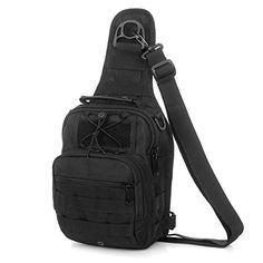 Defoe 5 Mens Tactical Fishing Camping Outdoor Sport Chest Pack Single Shoulder Large Black ** Continue to the product at the image link.