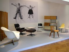 Designs by Charles & Ray Eames as part of the Love! Art! Passion! exhibition  in the Gemeentemuseum The Hague [H.P. Berlage architect], the Netherlands #eames #eameschair