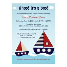 Nautical Sailboat Baby Boy Baby Shower Invitation Customize with your information.